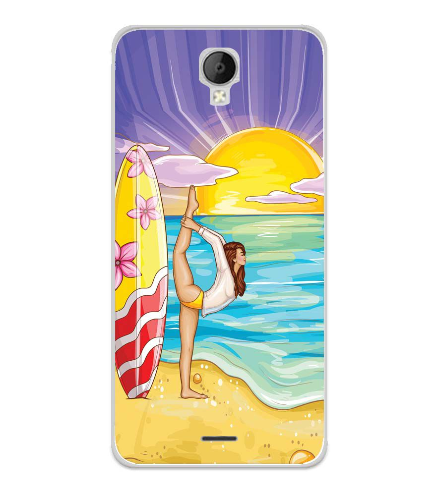 Sunrise with Yoga Soft Silicone Back Cover for Micromax Spark Go