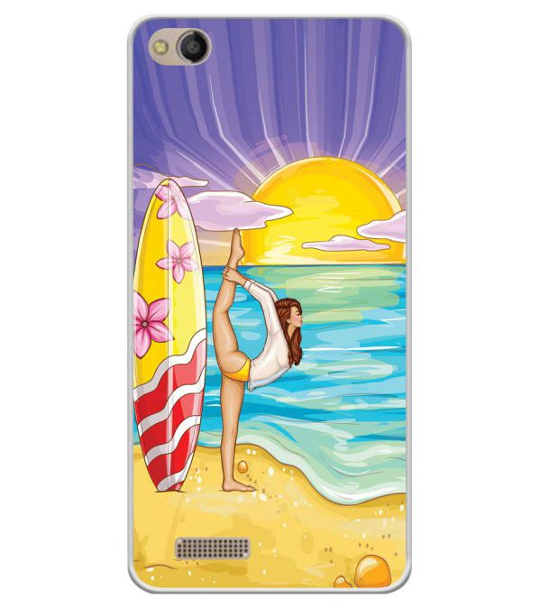 Sunrise with Yoga Soft Silicone Back Cover for Mobistar CQ Dual