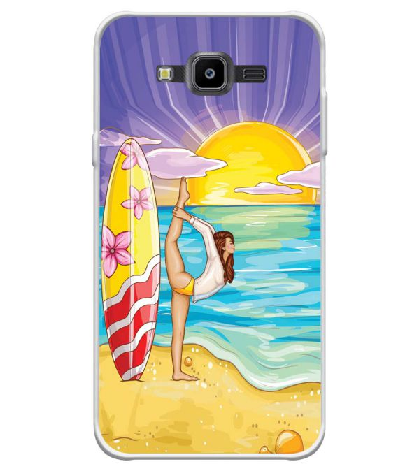 Sunrise with Yoga Soft Silicone Back Cover for Samsung Galaxy J7 Nxt