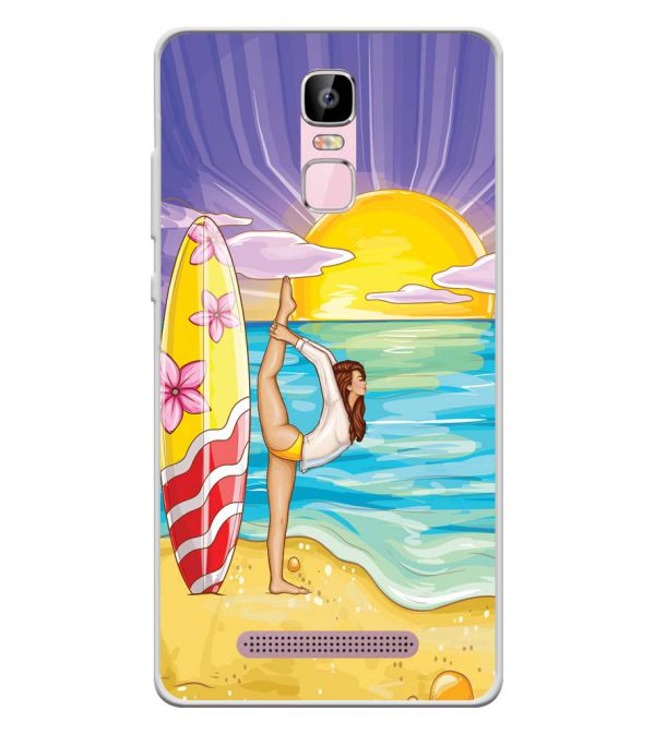 Sunrise with Yoga Soft Silicone Back Cover for Zen Admire Sense Plus
