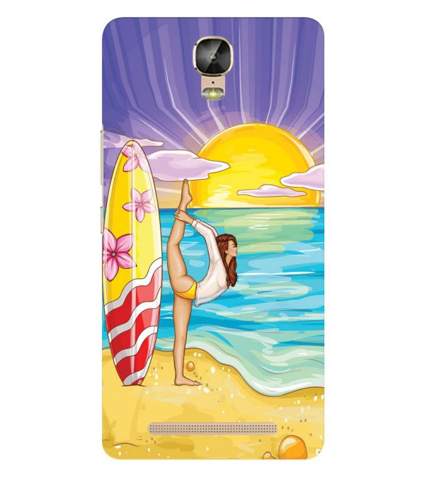 Sunrise with Yoga Back Cover for Gionee Marathon M5 Plus