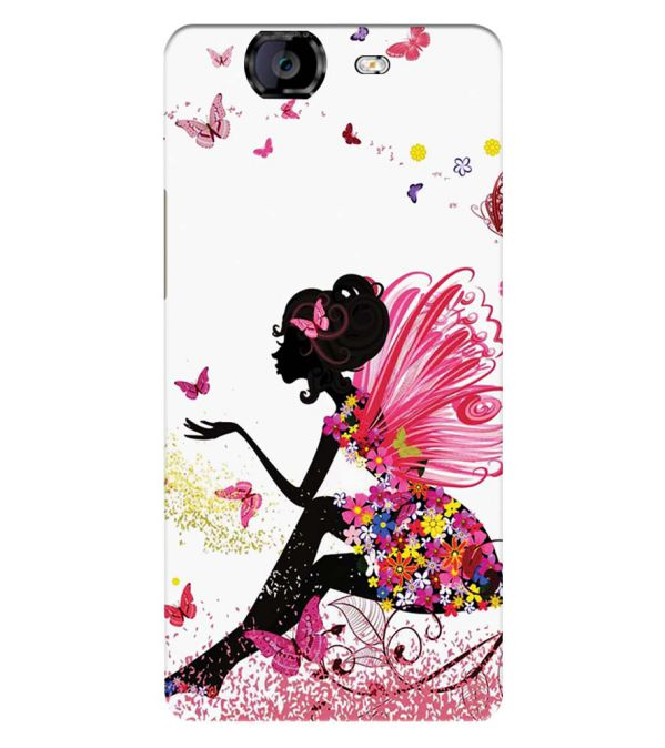 The Pixie With Her Butterflies Back Cover for Micromax A350 Canvas Knight