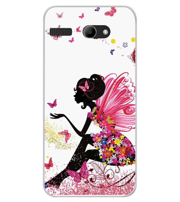 The Pixie With Her Butterflies Soft Silicone Back Cover for Lava Iris Atom X