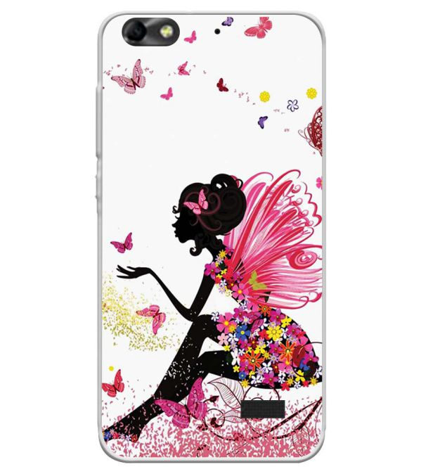 The Pixie With Her Butterflies Soft Silicone Back Cover for Huawei Honor Bee 4G