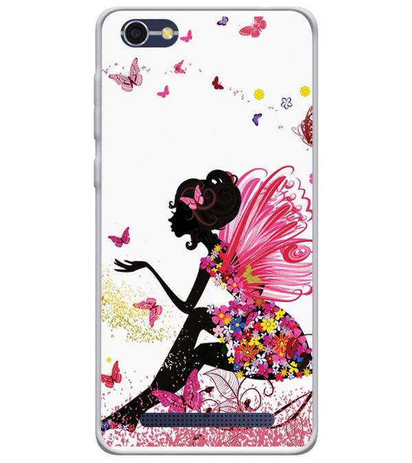 The Pixie With Her Butterflies Soft Silicone Back Cover for Lava A77