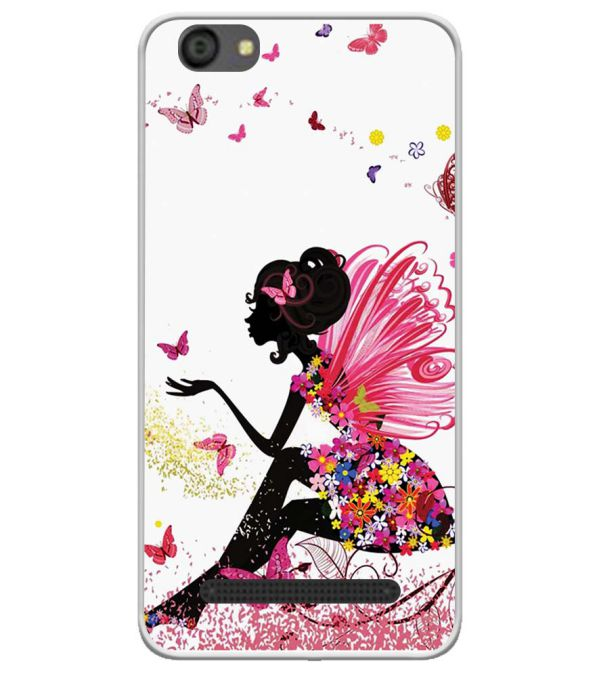 The Pixie With Her Butterflies Soft Silicone Back Cover for LYF Flame 5