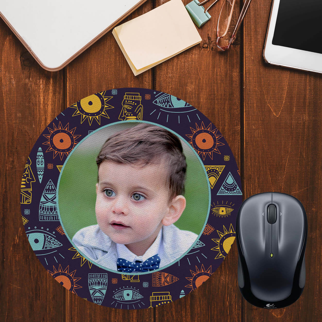 Traditional Pattern Photo Mouse Pad (Round)