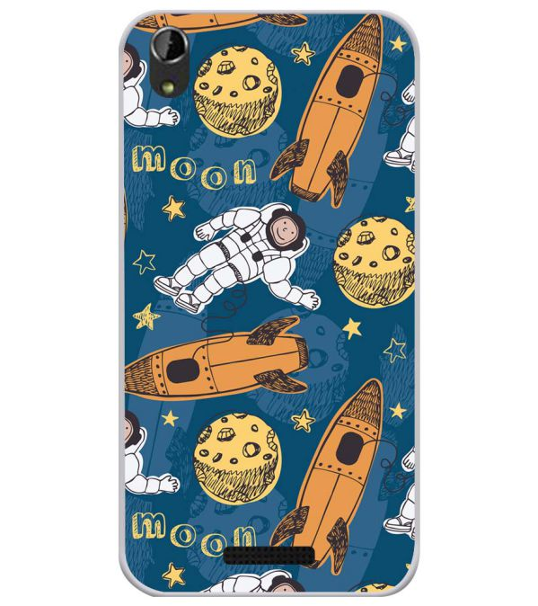 Travel To Moon Soft Silicone Back Cover for Lava Iris Atom X1