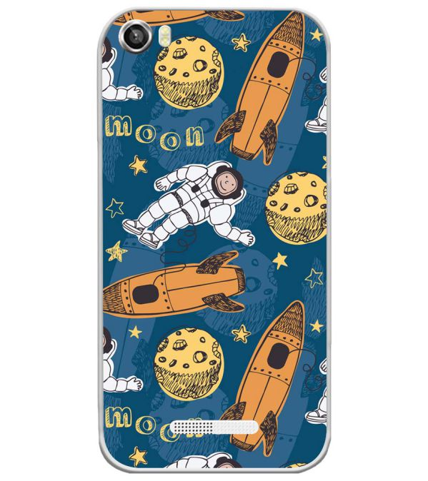 Travel To Moon Soft Silicone Back Cover for Lava Iris X8