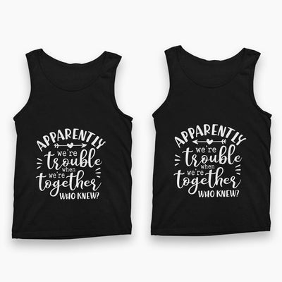 Trouble Together Tank Tops-White