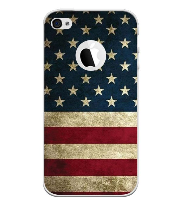 US Flag Theme Back Cover for Apple iPhone 4 and iPhone 4S (Logo Cut)-Image3