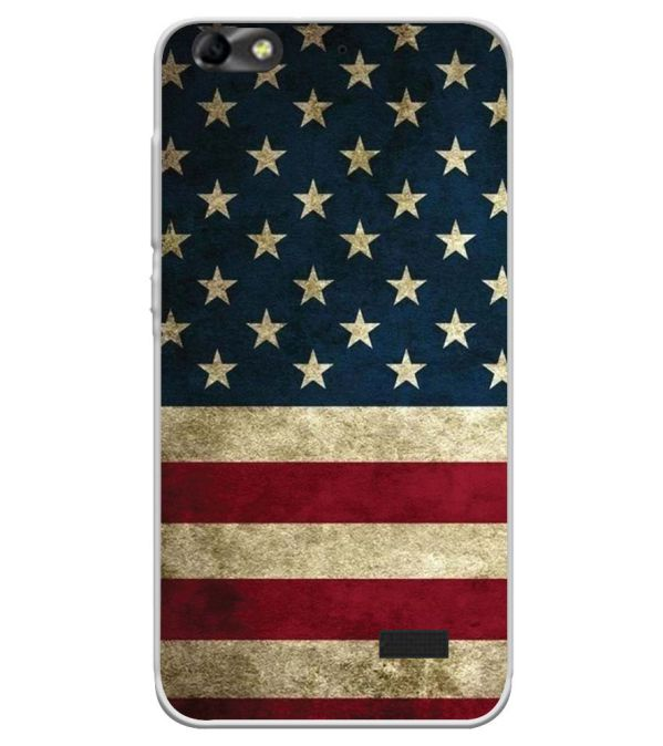 US Flag Theme Soft Silicone Back Cover for Huawei Honor Bee 4G