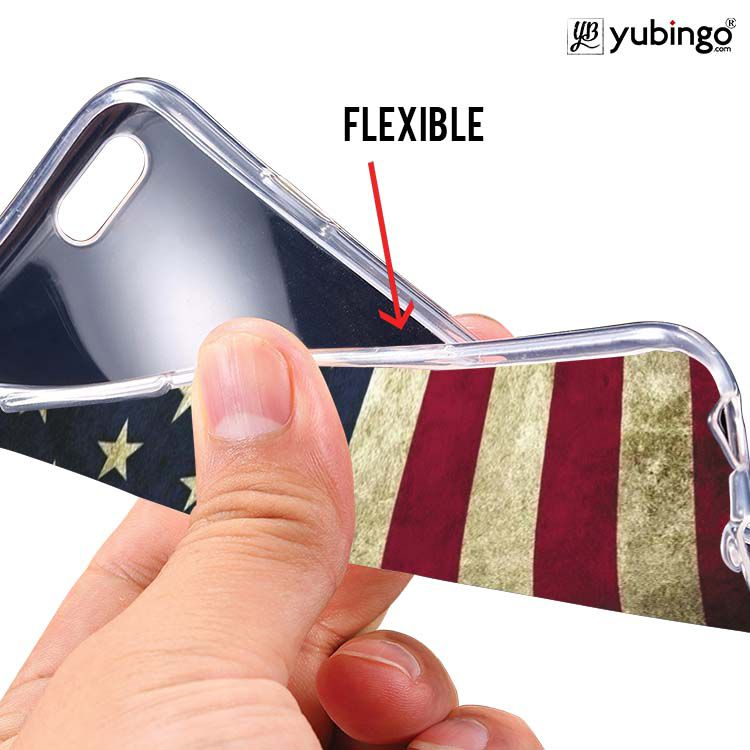 US Flag Theme Soft Silicone Back Cover for Lava Iris Atom X