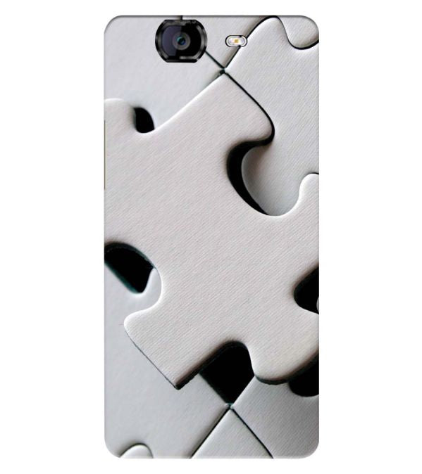 White Stylish Puzzle Back Cover for Micromax A350 Canvas Knight