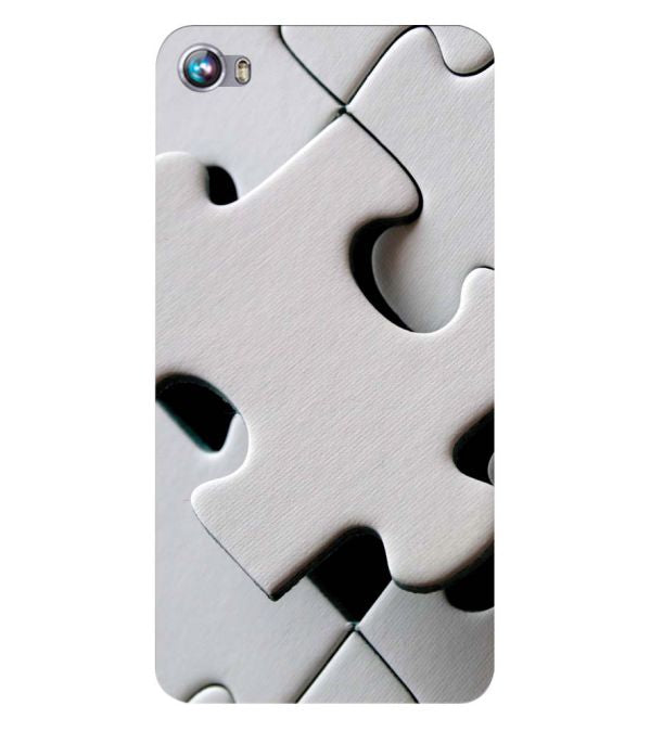 White Stylish Puzzle Back Cover for Micromax Canvas Fire 4 A107