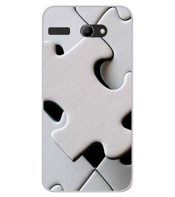 White Stylish Puzzle Soft Silicone Back Cover for Lava Iris Atom X