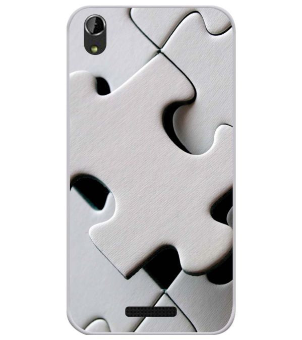 White Stylish Puzzle Soft Silicone Back Cover for Lava Iris Atom X1