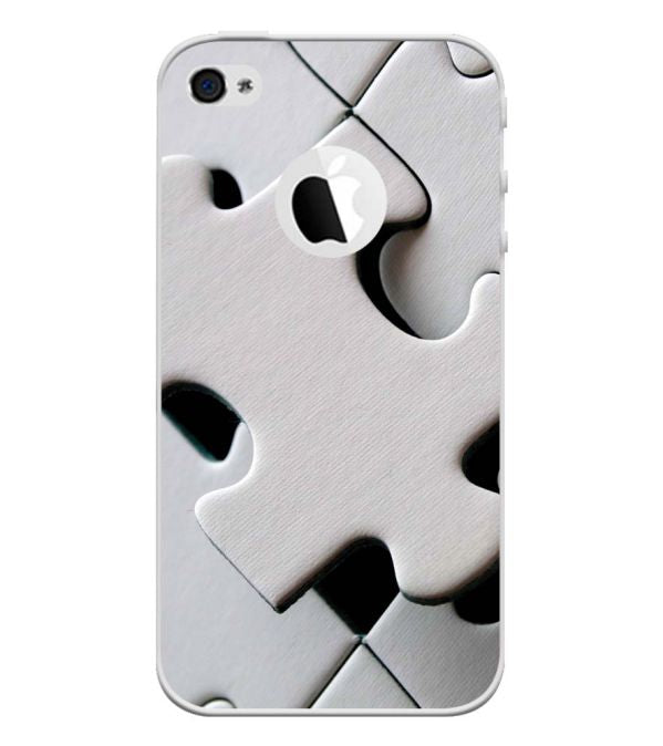White Stylish Puzzle Back Cover for Apple iPhone 4 and iPhone 4S (Logo Cut)-Image3