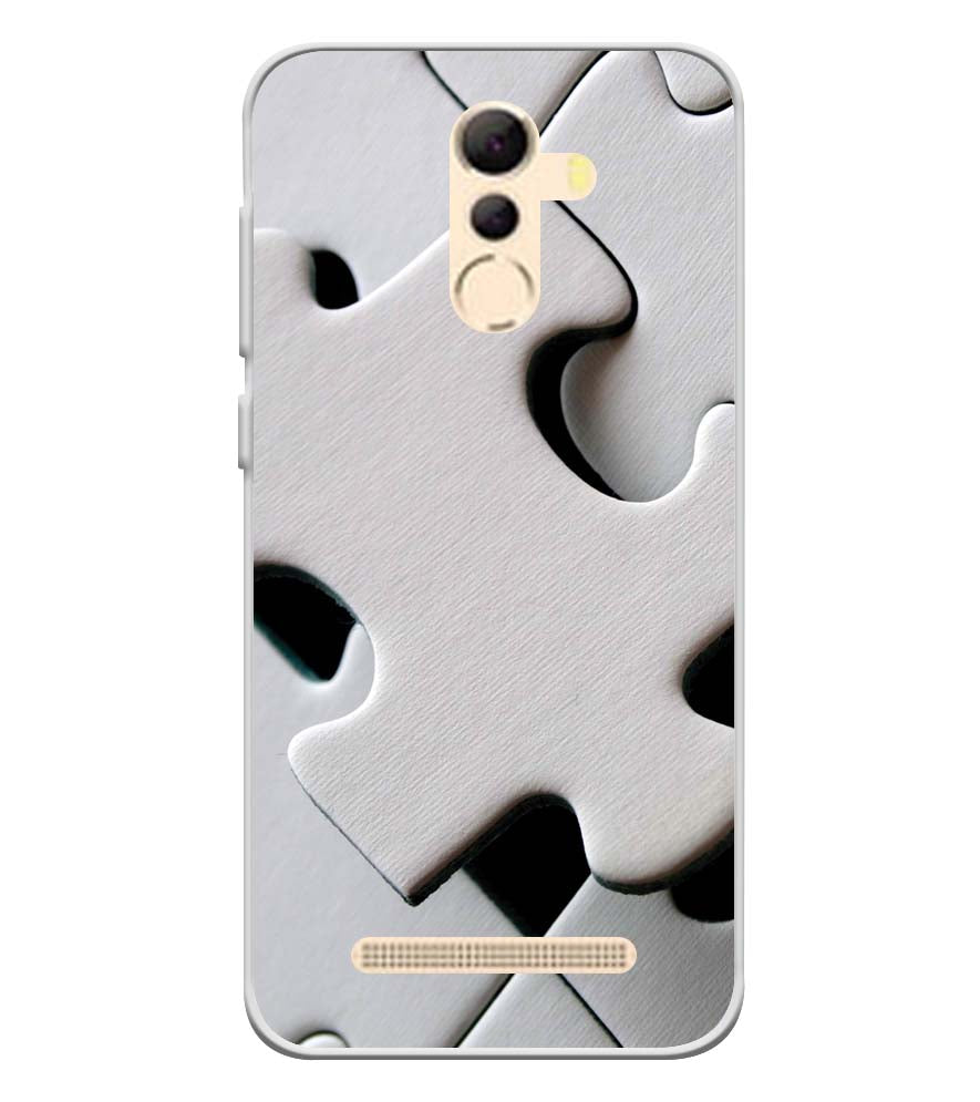 White Stylish Puzzle Soft Silicone Back Cover for Coolpad Mega 5A