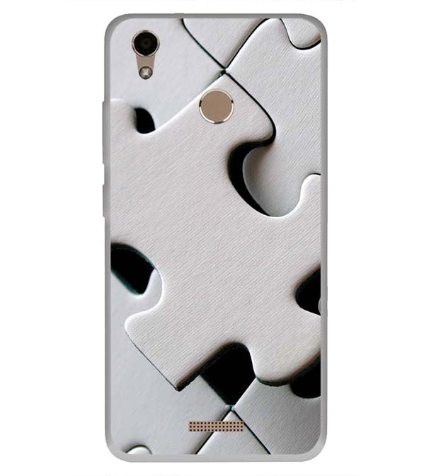 online retailer a53b5 95286 White Stylish Puzzle Soft Silicone Back Cover for InFocus Turbo 5