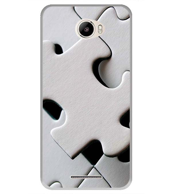 White Stylish Puzzle Back Cover for Intex Intx Trend Lite
