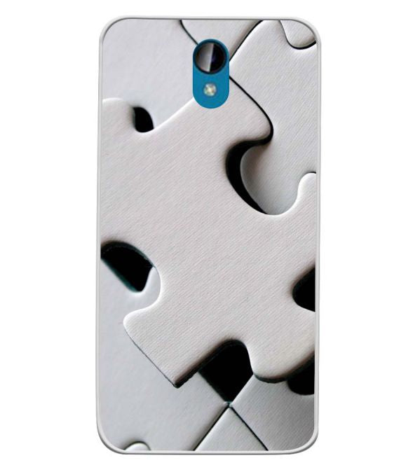 White Stylish Puzzle Soft Silicone Back Cover for Intex Lions 6