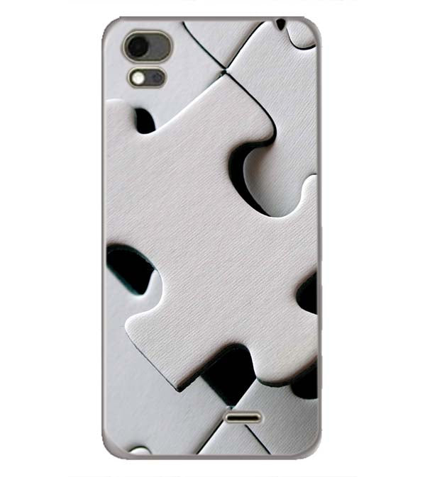 White Stylish Puzzle Back Cover for Karbonn Aura Note 4G
