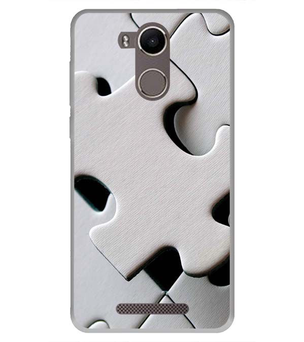 White Stylish Puzzle Back Cover for Karbonn K9 Kavach 4G