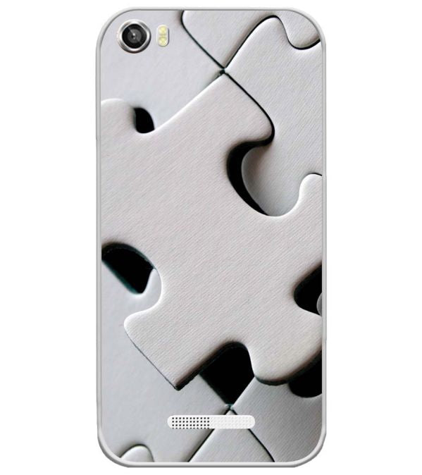 White Stylish Puzzle Soft Silicone Back Cover for Lava Iris X8