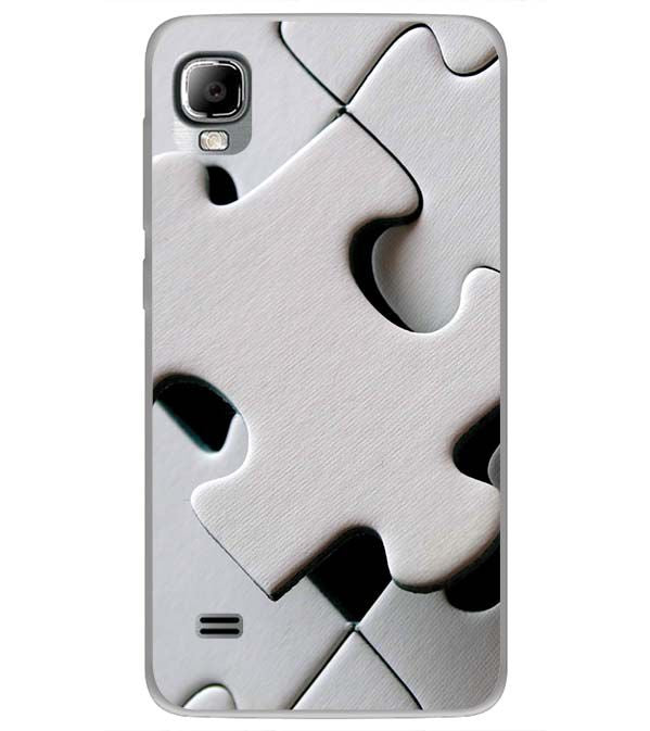 White Stylish Puzzle Back Cover for LYF Flame 3