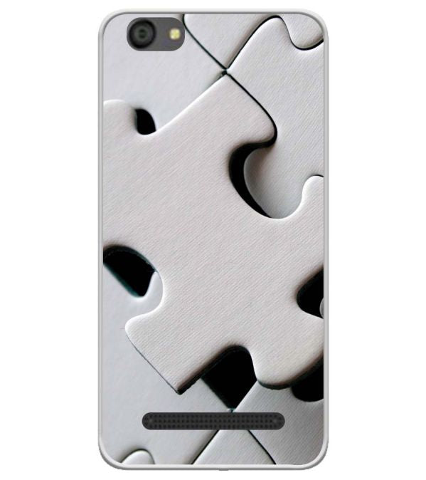 White Stylish Puzzle Soft Silicone Back Cover for LYF Flame 5