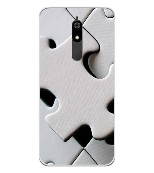 White Stylish Puzzle Soft Silicone Back Cover for Micromax Canvas Infinity Pro