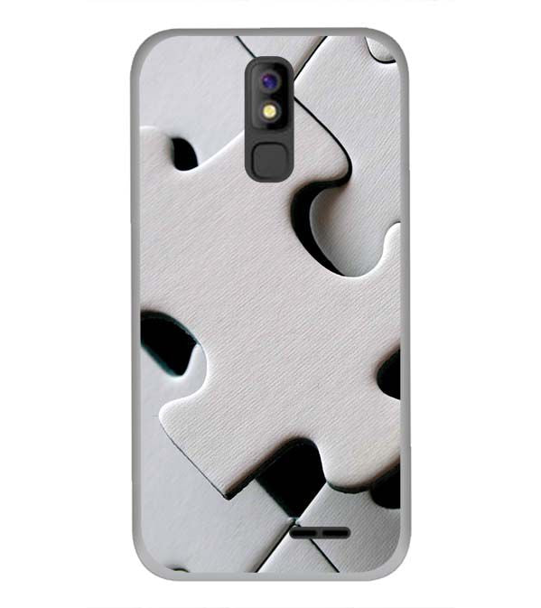 White Stylish Puzzle Back Cover for Panasonic P100