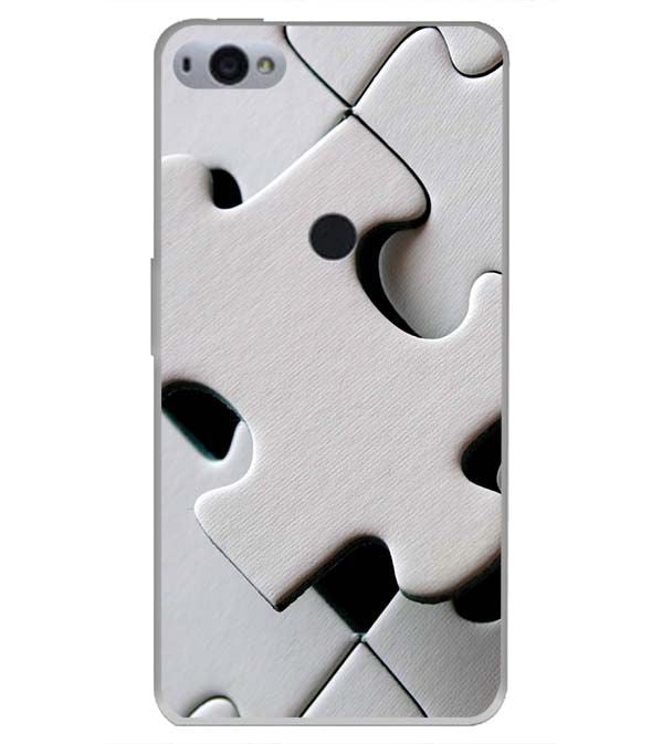 White Stylish Puzzle Back Cover for Smartron SRT Phone