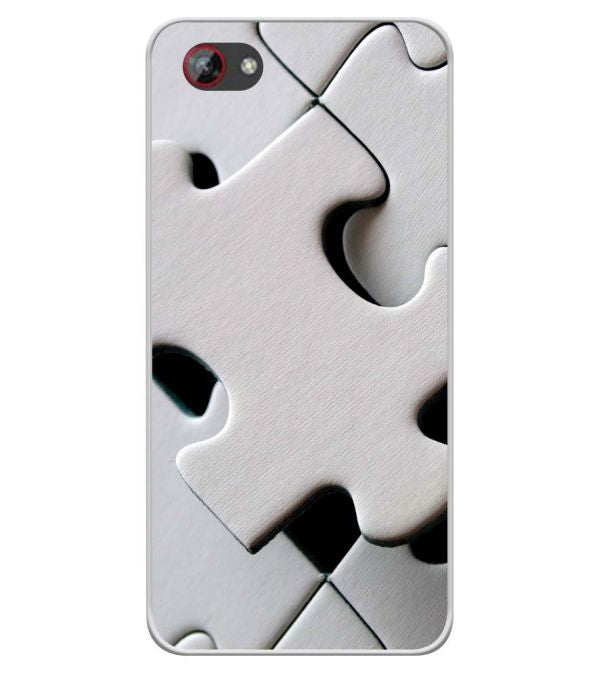White Stylish Puzzle Soft Silicone Back Cover for Spice F301