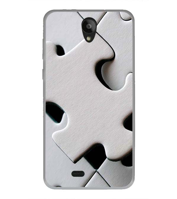 White Stylish Puzzle Back Cover for Swipe Konnect Plus