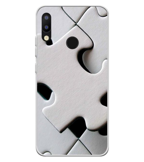 White Stylish Puzzle Soft Silicone Back Cover for Tecno Camon i2