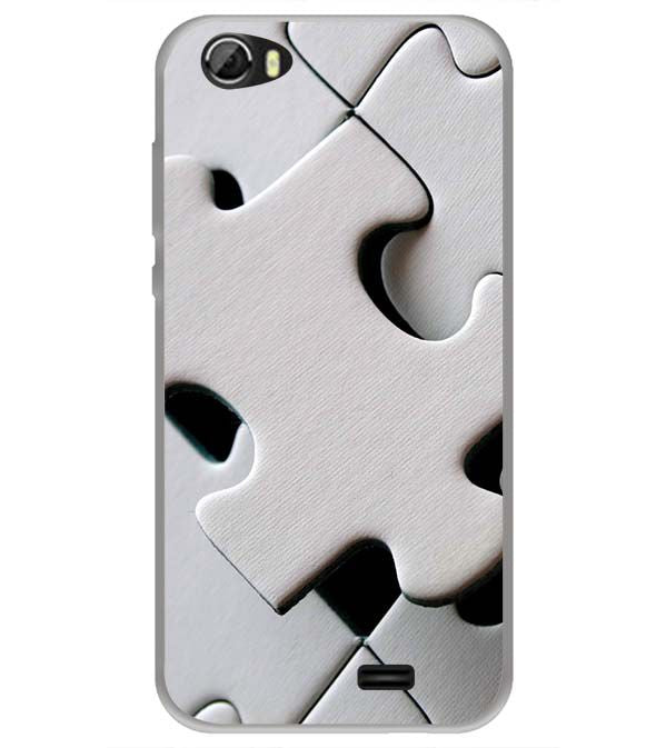White Stylish Puzzle Back Cover for Videocon Krypton 22 Plus