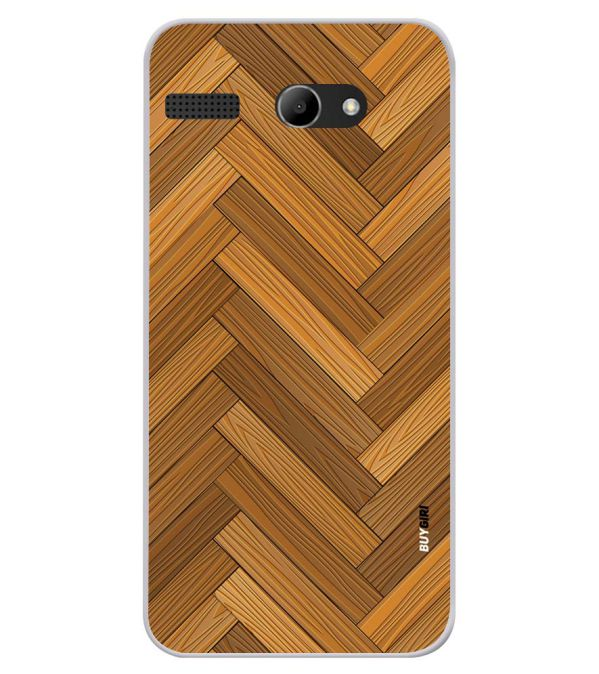 Wood Pattern Soft Silicone Back Cover for Lava Iris Atom X