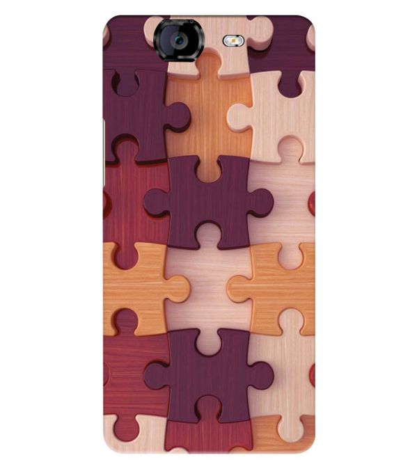 Wooden Jigsaw Back Cover for Micromax A350 Canvas Knight