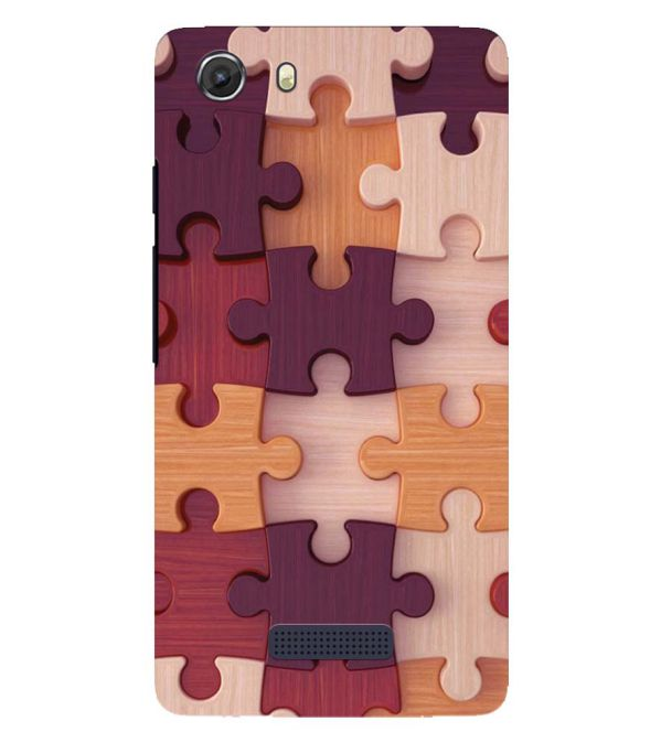 Wooden Jigsaw Back Cover for Micromax Q372 Unite 3