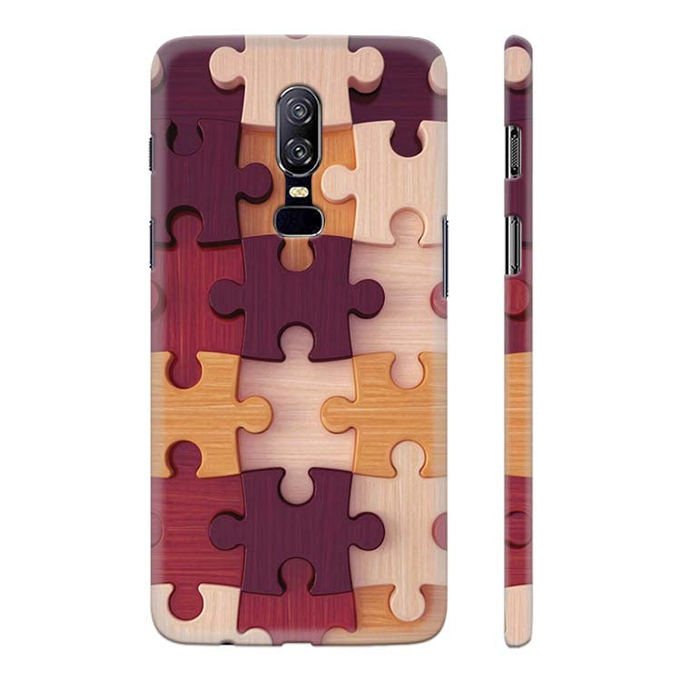 Wooden Jigsaw Back Cover for OnePlus 6