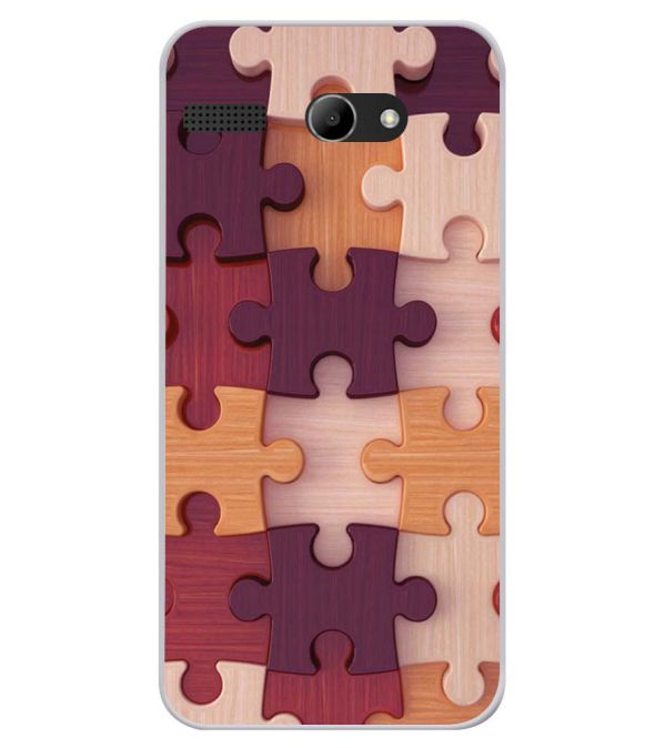 Wooden Jigsaw Soft Silicone Back Cover for Lava Iris Atom X