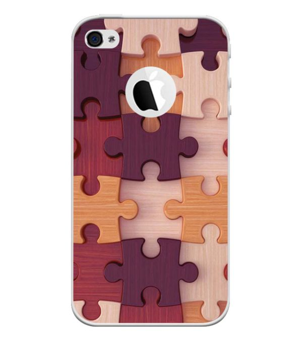 Wooden Jigsaw Back Cover for Apple iPhone 4 and iPhone 4S (Logo Cut)-Image3