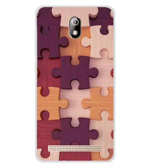 Wooden Jigsaw Soft Silicone Back Cover for Comio C1 Pro