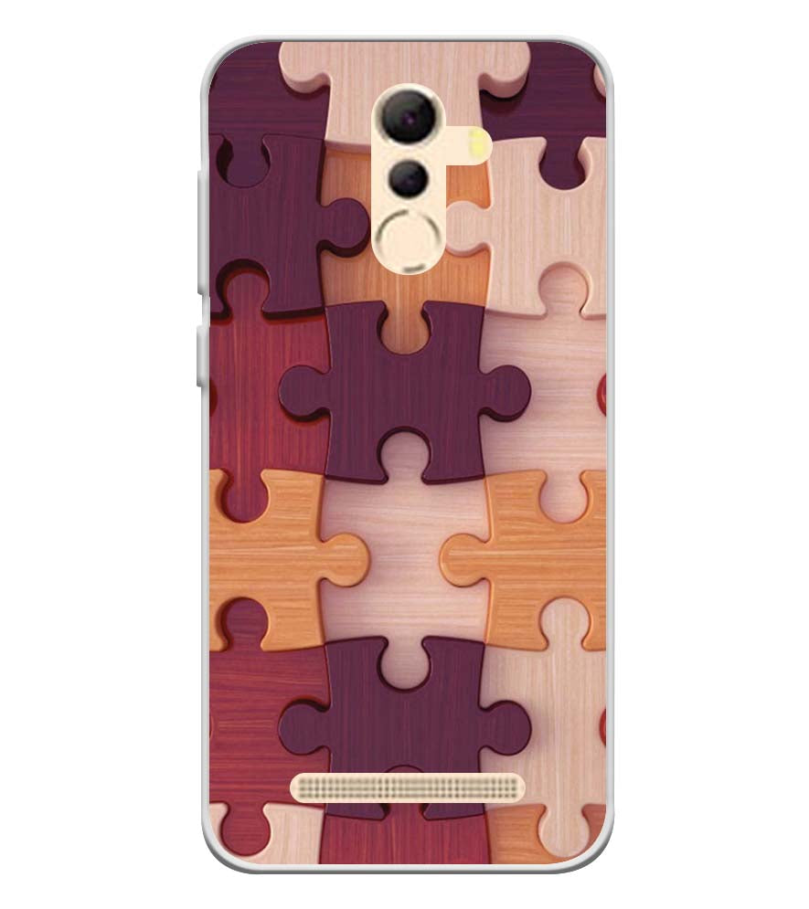 Wooden Jigsaw Soft Silicone Back Cover for Coolpad Mega 5A