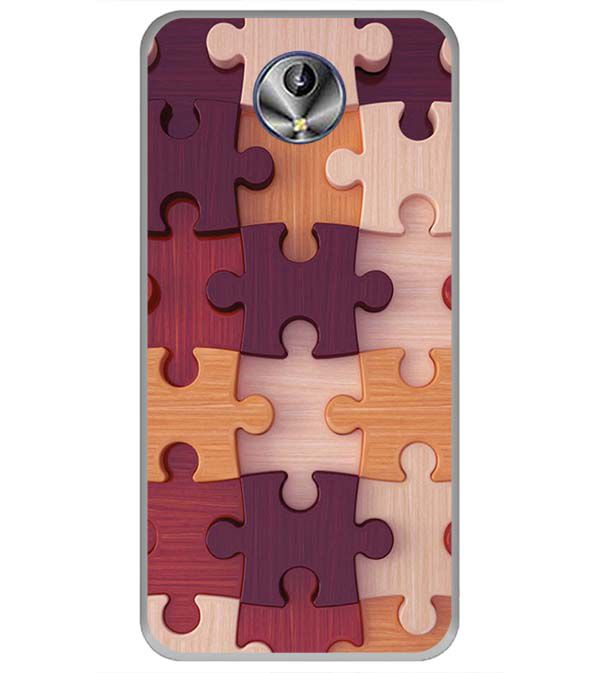 Wooden Jigsaw Back Cover for Intex Amaze+
