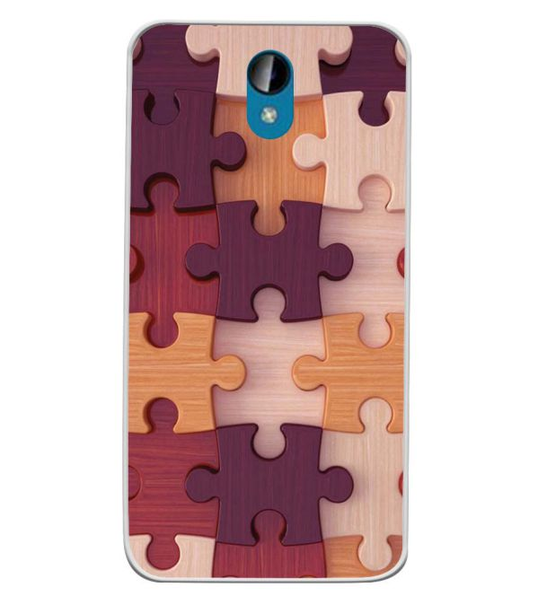 Wooden Jigsaw Soft Silicone Back Cover for Intex Lions 6