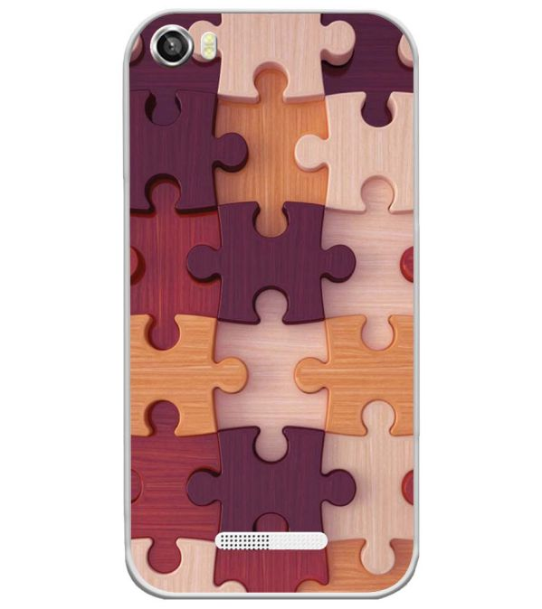Wooden Jigsaw Soft Silicone Back Cover for Lava Iris X8