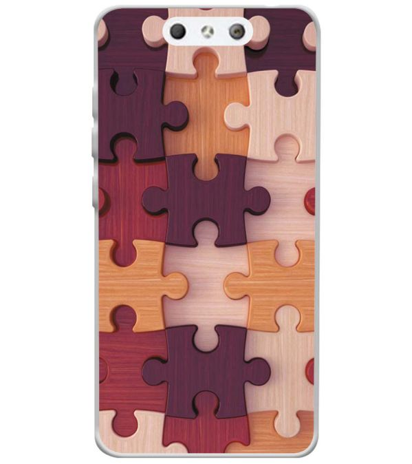 Wooden Jigsaw Soft Silicone Back Cover for LYF Earth 1